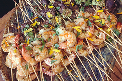 catering skewers and prawns