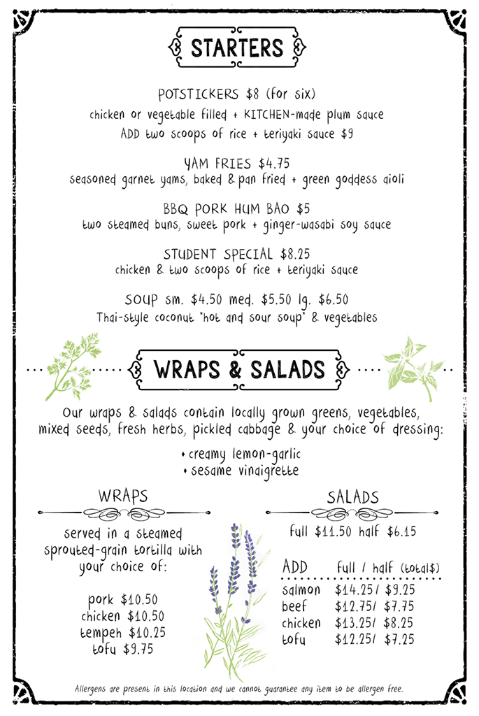 the kichen's cafe menu - starters, wraps, salads