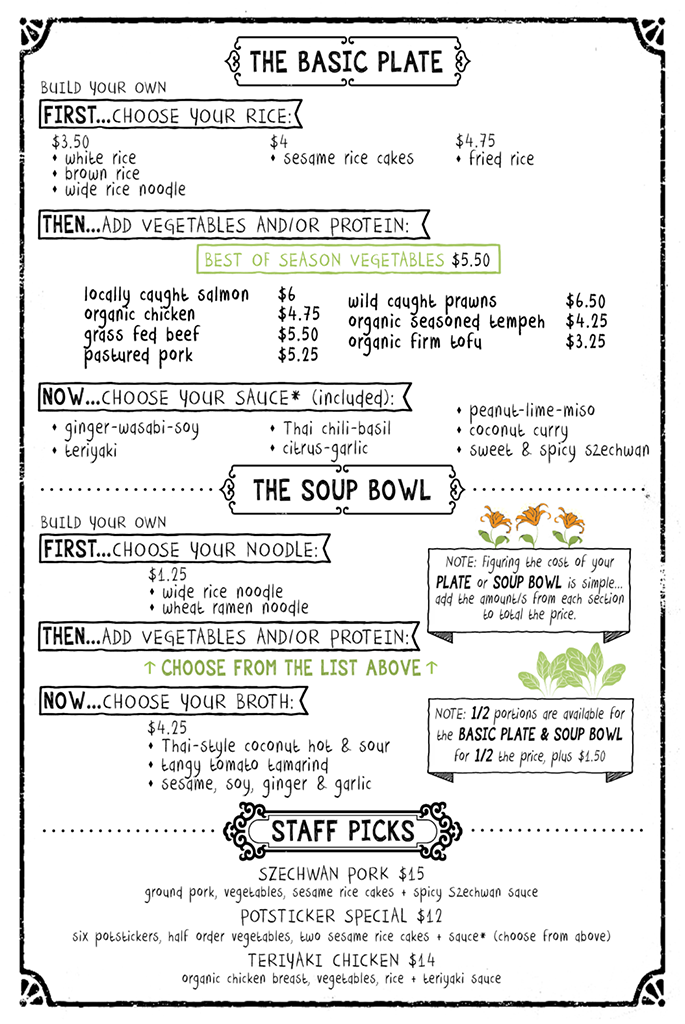 the kitchen's cafe menu - basic plate, soup bowl, staff picks