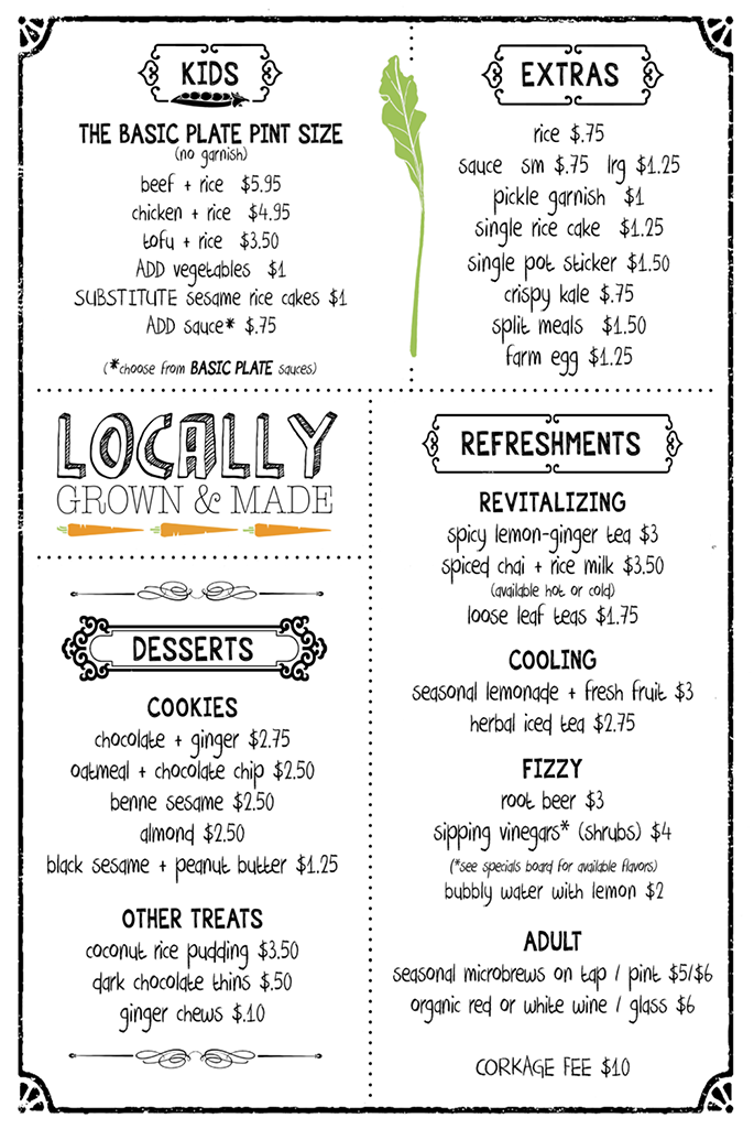 the kitchen's cafe menu - kids, extras, desserts, refreshments